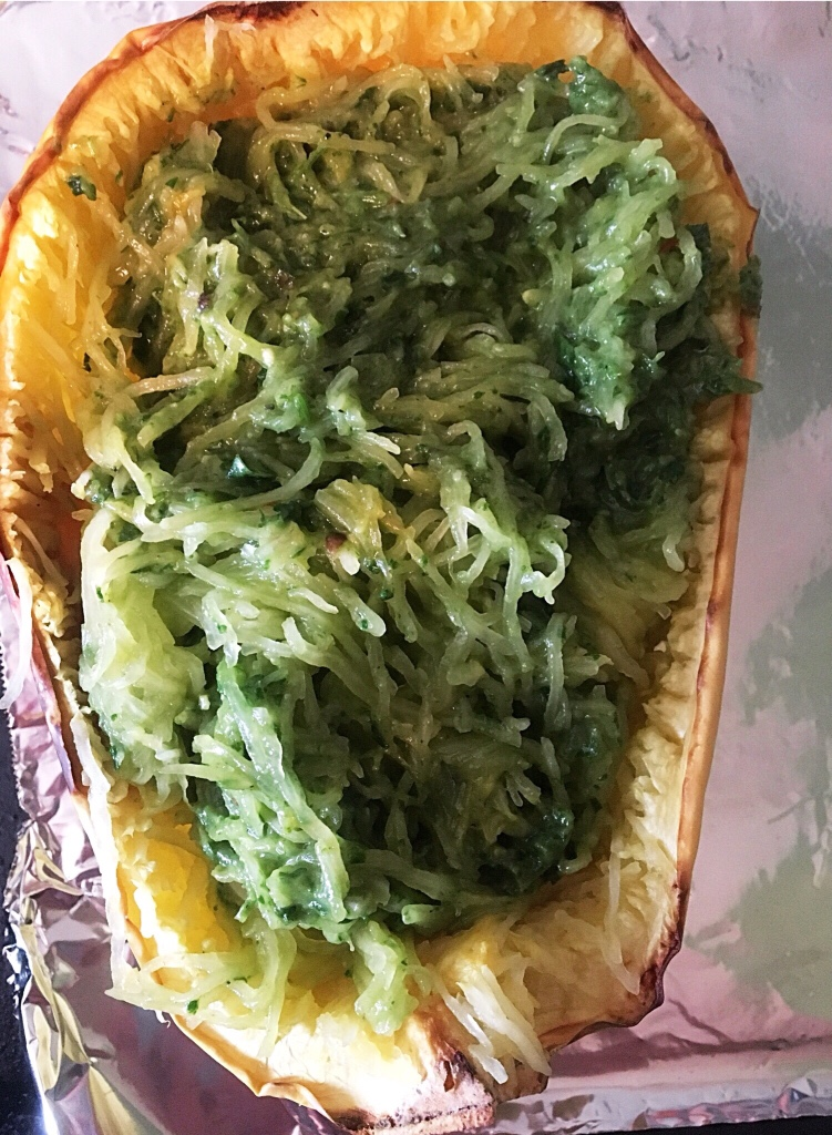 Spaghetti Squash with Avocado Pesto (Vegan and Gluten-Free)