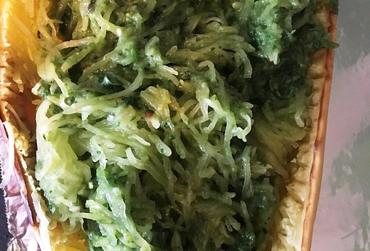 Spaghetti Squash with Avocado Pesto (Vegan andGluten-Free)
